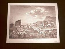Rarissima veduta del Porto e del Molo di Agrigento Sicilia Litografia Saint-Non