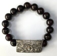 Pyrope Garnet and Antique Sterling Silver Stretch Bracelet