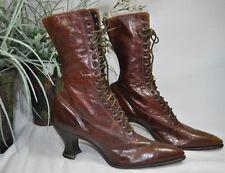 Vintage Womens Titanic Era Hi Top Lace Up Shoes~Brown Leather~Victorian