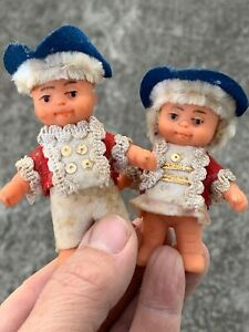 Antique COLONIAL Boy Girl French Breton Brittany Miniature Minutemen DOLLS ❤️m9