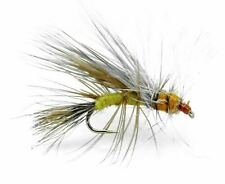 Fly Fishing Trout Flies - Stimulator Yellow Dry Fly - 12 Flies in 4 Sizes