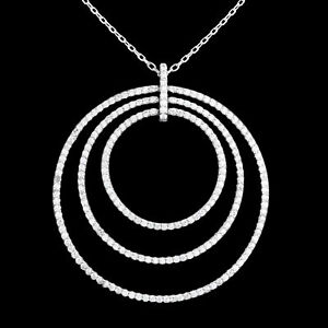 WHITE CUBIC ZIRCONIA MICRO SETTING STERLING SILVER 925 NECKLACE 17.7-19.7 IN