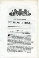 1831 Act of Parliament Duties Tax on Liquor Wine King William IV