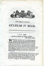 1831 Act of Parliament Duties Tax on Liquor Wine King William IV