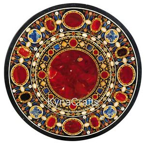 36 Inches Marble Dining Table Top with Carnelian Stone Inlaid Office Table Top