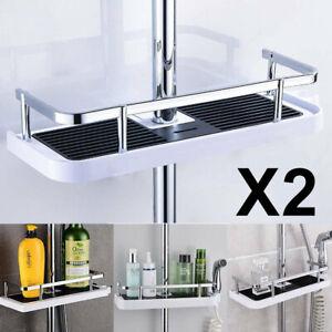 2x Bathroom Rack Organiser Tray Holder Shelf Shower Accessory Pole Storage Caddy