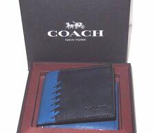 Men's Coach Black & Denim Blue Rip & Repair Leather Wallet 75212B Boxed NWT $150