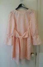 NEW Peach & White stripe shift dress with tie waist belt & puff sleeve, size 12