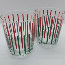 2 Domostyle Georges Briard lowball rocks glasses green red stripes Vtg 60s MCM