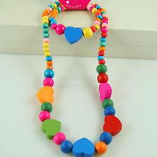 1 Set Children Cute Multicolor Heart Wood Beads Necklace Bracelet Jewelry Set