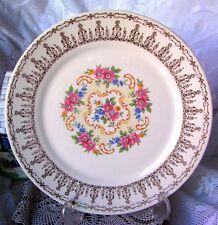 Sebring Pottery Co USA Rose Bower Dinner Plate IT-S528 22K Gold Filigree 1940s