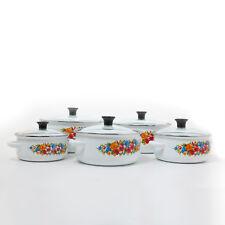 Emaille Kochtopfset weiß Blumenmuster Topfset Kochtöpfe mit Glasdeckel