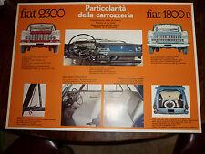 Fiat 2300 1800B body / carrozzeria details - original official dealer poster