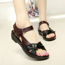 Buckle Leather Casual Solid Sandals & Flip Flops for Women