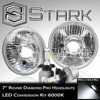 "H6024 Head Light Glass Housing Lamp Projector Chrome 7"" Round LED Headlight Kit"