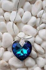 Exclusive Collection 925 Silber Kette mit Swarovski® Kristall Herz blau grün