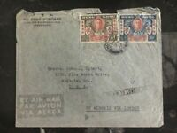 1946 Hong Kong to USA Commercial cover  Peace Issue Set By Air To London Cancel