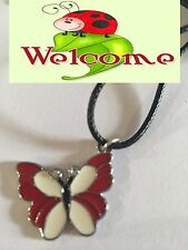 RED BUTTERFLY WITH RHINESTONES NECKLACE PENDANT ON BLACK NECKLACE 4W