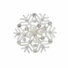 Crystal Christmas Xmas Snowflake Brooch with faux-Pearl