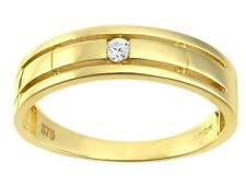 9ct yellow gold single created diamond wedding band from our Bridal range size L