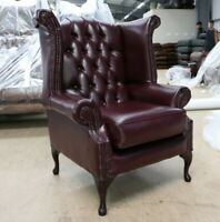 GEORGIAN CHESTERFIELD QUEEN ANNE HIGH BACK WING CHAIR BURGUNDY LEATHER