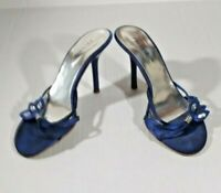 Palovio Women's Shoes Size 7 Blue Slip Ons Heels Strappy Crystal Stones Open Toe