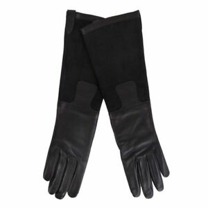 55799 auth HERMES black leather & suede Long Gloves Sz 8