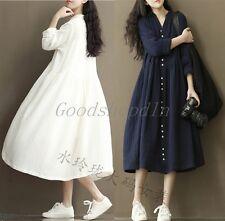 Loose Maxi Plus Size Solid Women Long Dress Linen Gown Flok Style Bohemian skirt