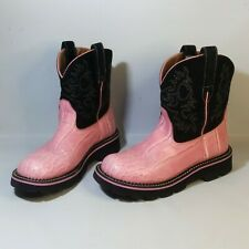 Ariat FatBaby Western Cowgirl Boots Booties Black Suede Pink Womens Sz 9