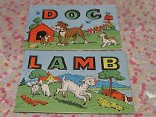 Vintage children's puzzle pair lamb and dog letters pictures retro sweet set