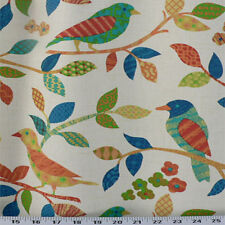 Drapery Upholstery Fabric Whimiscal Cotton Print Birds & Leaves - Orange / Teal
