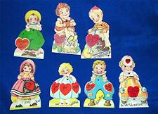 "7 Adorable Figural Children, Mechanical 1930'S 5"" Unused Valentines"