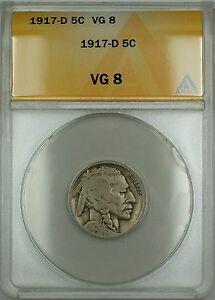 1917-D Buffalo Nickel 5c Coin ANACS VG-8