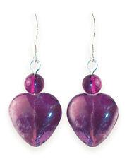 NEW LADIES SILVER & AMETHYST GEMSTONE HEART EARRINGS