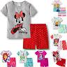 Kinder Mädchen Cartoon Elsa Minnie Maus Pyjama Nachtwäsche Schlafanzug 2tlg Set