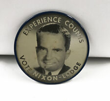 1960 Experience Counts Vote Nixon Lodge Flasher Political Pinback Button Vintage