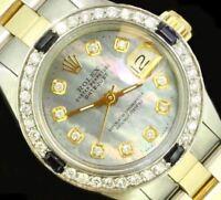 Rolex Ladies Datejust Oyster Stainless Gold Diamond Dial Bezel Luxury Watch