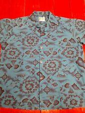 Vtg Ui-Maikai Men's Hawaiian Short Sleeve Button Up Blue Island Graphic Sz Xl