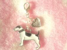 Cute Jack Russell Heart Charm Clip On Dog Pet Collar Purse Bag Key Tag Bracelet