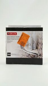 DELTA Plastic Corner Shelf With Polished Chrome Assist Bar Max 300 lb DF702PC