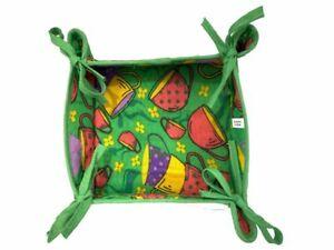 22cm, Reversible Fabric Bread Basket 100% Cotton TEATIME Foldable Basket