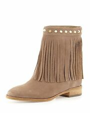 MICHAEL KORS Suede Brown Billy Gold Studded Fringe Ankle Boots $250+   Sz 6