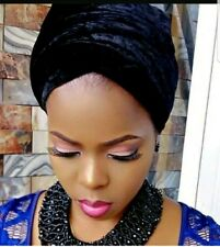 Black Women velvet Turban headwraps single wrap