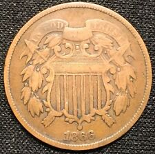 1866 Civil War Era Two Cent Piece US Copper Very Nice !