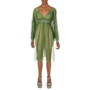 NEW FREE PEOPLE Vintage Dreams Tulle Embellished Bell Sleeve Maxi Top Green Sm