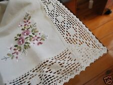 Ribbon Embroidery Crochet Lace Table Topper M Cream
