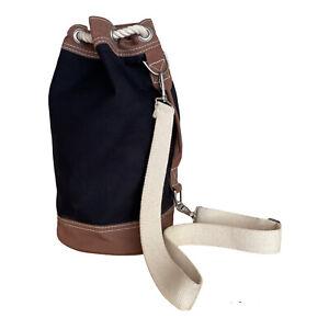 LL Bean Black Boat & Tote Bag Rope Drawstring Duffel Beach Bag w/ Shoulder Strap