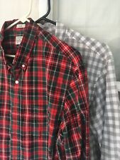 2 J. Crew men's shirts, slim large, red/green plaid and gray/white check