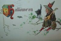 Halloween Postcard Stecher Embossed Vintage 332 C Old Witch Musician Black Cat