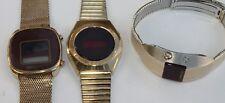 3 Vtg LED Digital Module Wristwatches Wrist Watch Timex Wittnauer Optel Solar